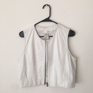 Vintage White Leather Vest